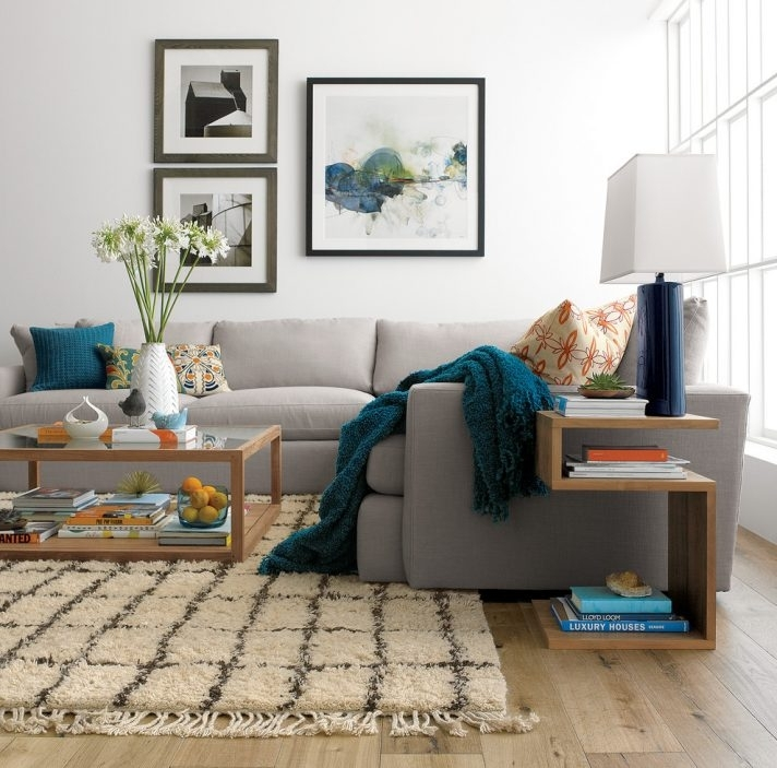 Furniture Rectangle Lucite Coffee Table With Furry Rug And Wall Art Throughout Crate And Barrel Wall Art (View 10 of 10)