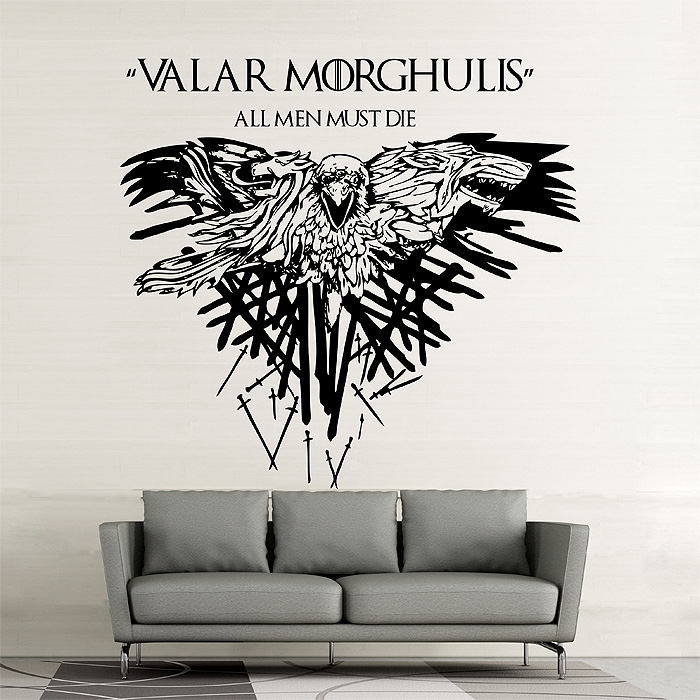 Game Of Thrones Valar Morghulis Vinyl Wall Art Decal Inside Wall Art For Men (Photo 7 of 10)