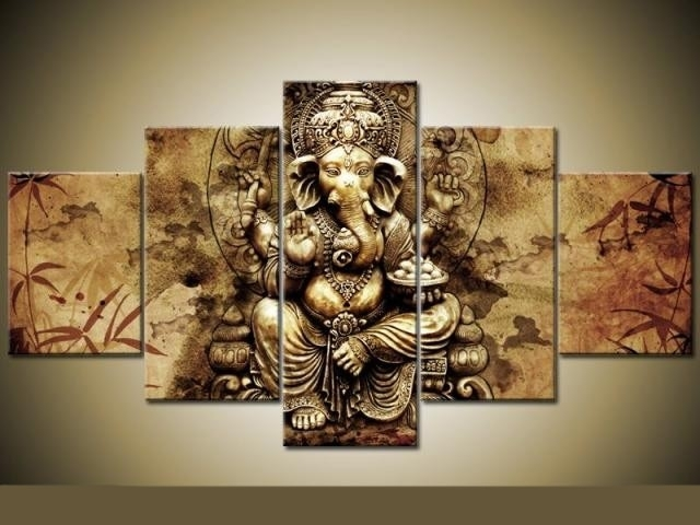 Ganesha 5 Piece Canvas Wall Art Pictures For Living Room Decoration For Five Piece Canvas Wall Art (Image 7 of 10)