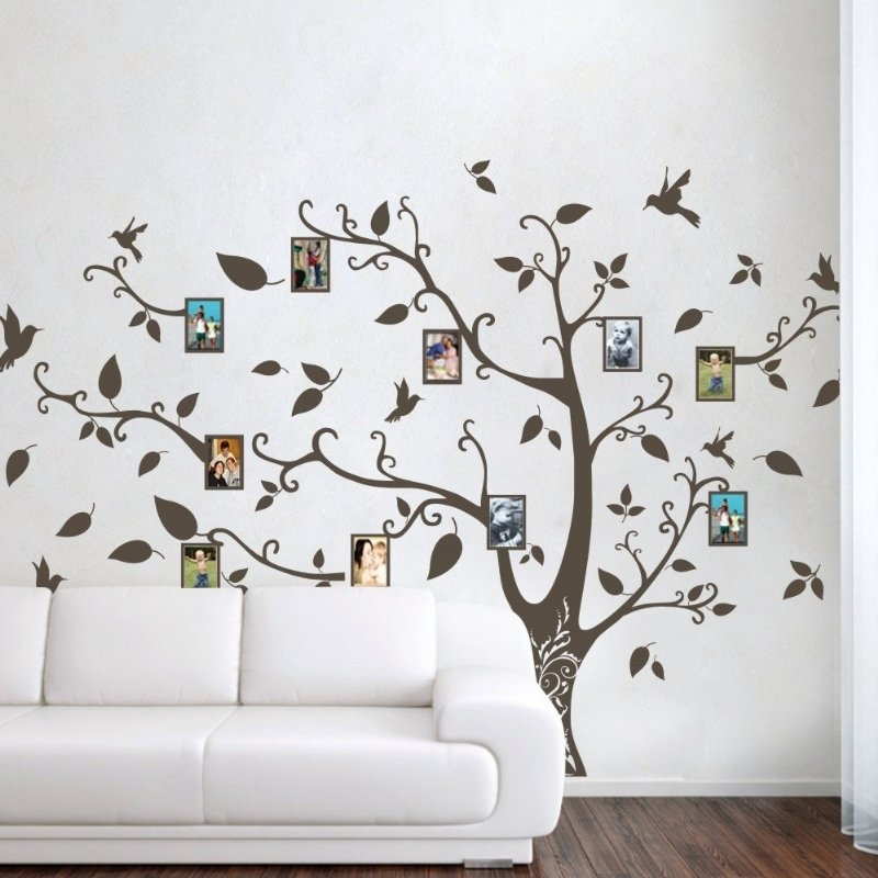Geckoo Wall Decor: Photo Frame Family Tree Wall Decals Wall Stickers In Family Tree Wall Art (Image 3 of 10)