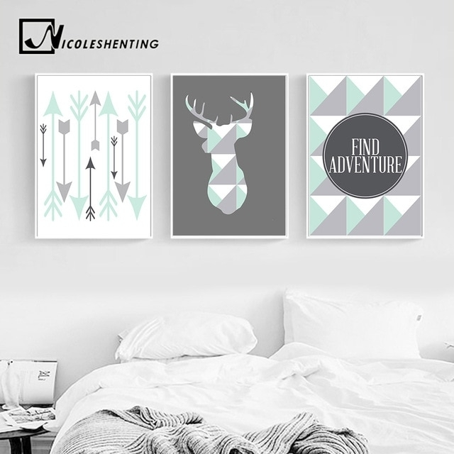 Geometric Deer Arrow Wall Art Canvas Posters Prints Nordic Style Inside Arrow Wall Art (Image 8 of 10)