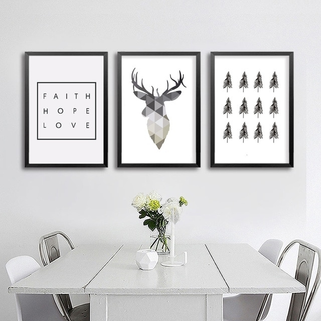 Geometric Deer Faith Quote Canvas Painting Nordic Poster Wall Art With Wall Art Prints (Image 7 of 10)