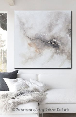 Giclee Print Art Abstract Grey White Painting Coastal Canvas Prints Throughout Gray Canvas Wall Art (Photo 4 of 10)