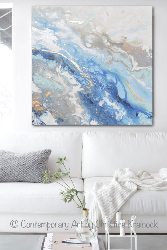 Giclee Print Large Art Abstract Painting Blue White Grey Acrylic In Large Coastal Wall Art (Image 5 of 10)