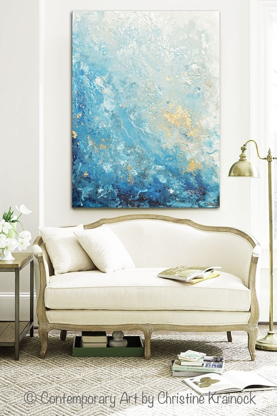Giclee Print Large Art Abstract Painting Blue White Wall Art Home Regarding Large Coastal Wall Art (Image 6 of 10)