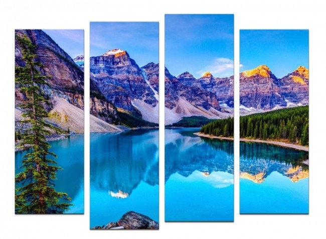 Glass Wall Art Acrylic – Set Mountain Lakeset Of 4 Pieces With Regard To Glass Wall Art (Photo 7 of 10)