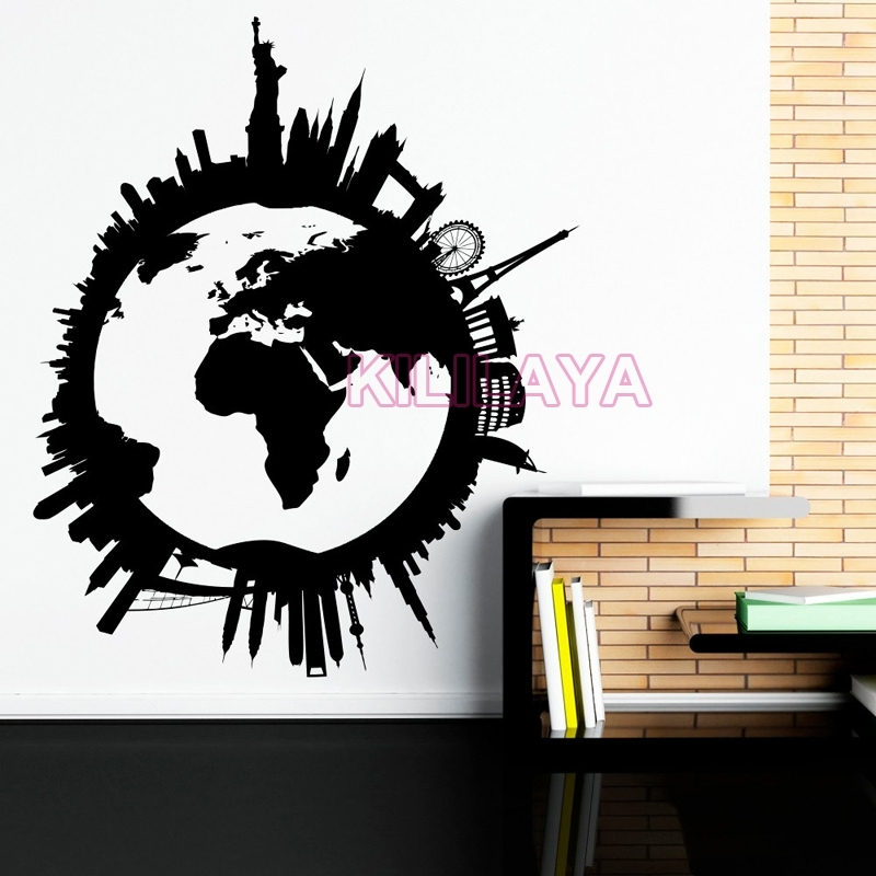 Global World Map Vinyl Wall Art Travel City Wall Stickers Wall In Vinyl Wall Art World Map (View 2 of 10)