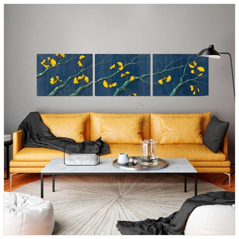 Gold Ginkgo Leaves Triptych, Nature Canvas Wall Art | Greenbox Within Triptych Wall Art (Image 2 of 10)