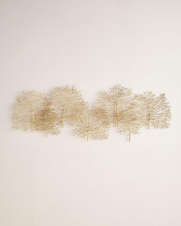 Gold Metal Branches Overlapping Wall Art Throughout Gold Metal Wall Art (Photo 9 of 10)