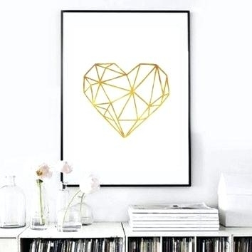 Gold Wall Art Real Gold Foil Print Heart Print Gold Foil Wall Art With Regard To Gold Foil Wall Art (Image 8 of 10)