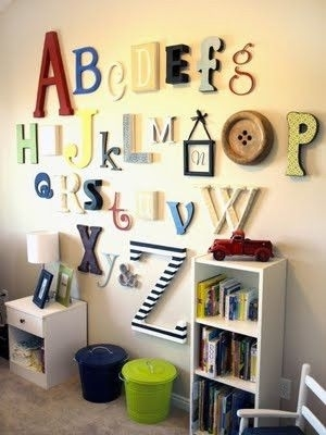 Good Idea: Wall Alphabet | Kids | Pinterest | Alphabet Wall Regarding Alphabet Wall Art (Image 7 of 10)
