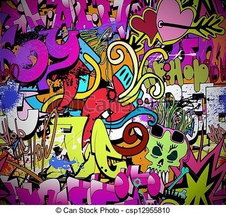 Graffiti Wall Art Background. Hip Hop Style Seamless Texture Pattern (View 4 of 10)