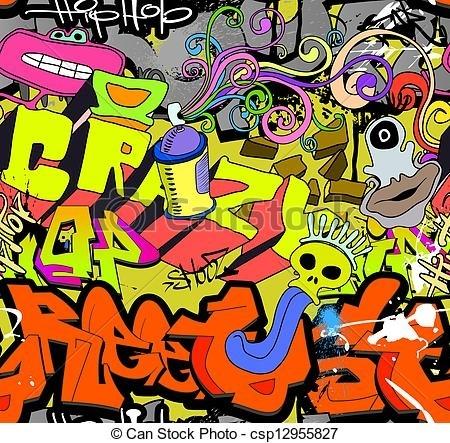 Graffiti Wall Art Background. Hip Hop Style Seamless Texture Pattern (Image 4 of 10)