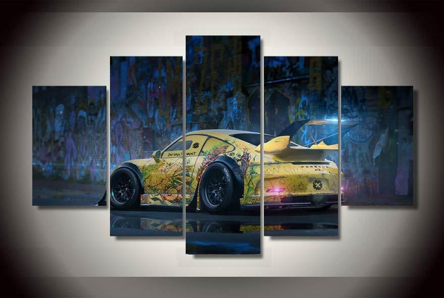 Graffiti Yellow Abstract Race Car Wall Art On Canvas Room Decoration Pertaining To Car Canvas Wall Art (Image 8 of 10)