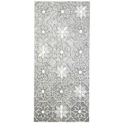 Gray Mosaic Flowers Wall Panel For Mirror Mosaic Wall Art (Image 6 of 10)