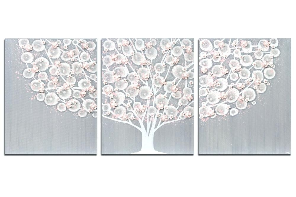 Gray Wall Art Gray And Pink Tree Canvas Art For Girl Nursery Large Inside Grey And White Wall Art (Photo 10 of 10)