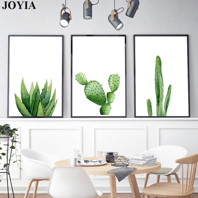 Green Cactus Wall Art Picture Home Decoration Modern Watercolor In Cactus Wall Art (View 7 of 10)