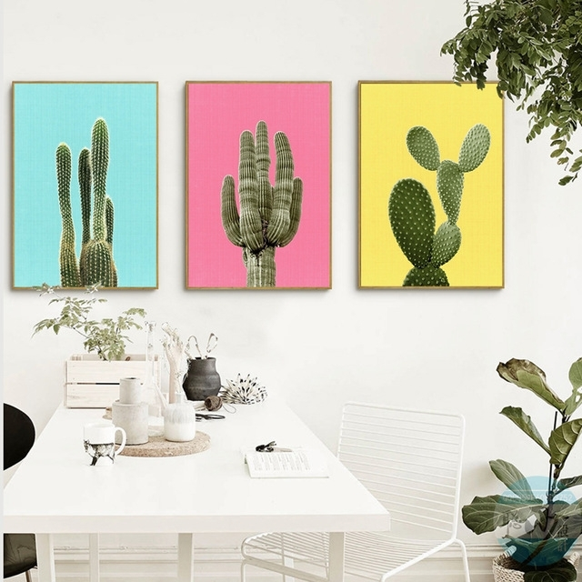 Green Plant Cactus Canvas Art Print Poster Still Life Cactus Wall Inside Cactus Wall Art (View 10 of 10)