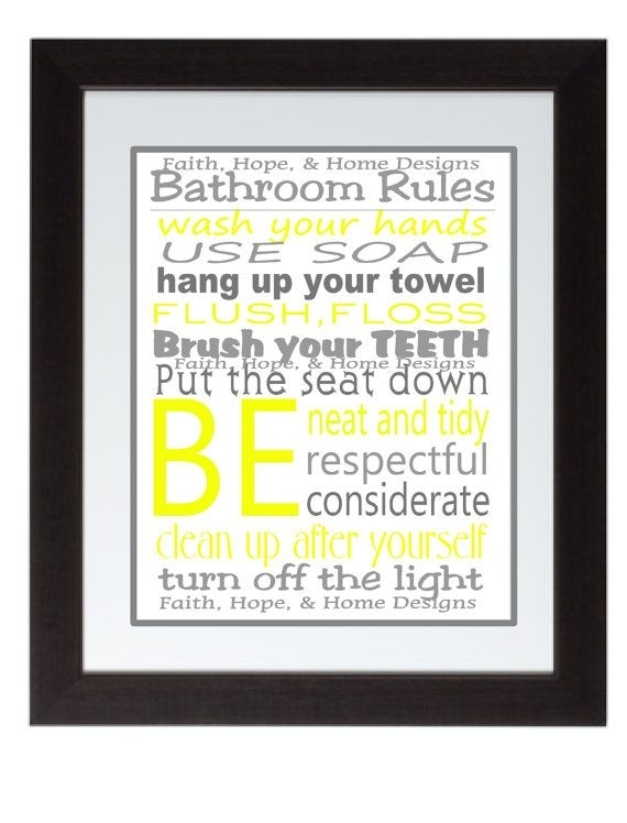Grey And Yellow Bathroom Rules Wall Art Poster 8X10 Digital Art For Bathroom Rules Wall Art (Image 9 of 10)