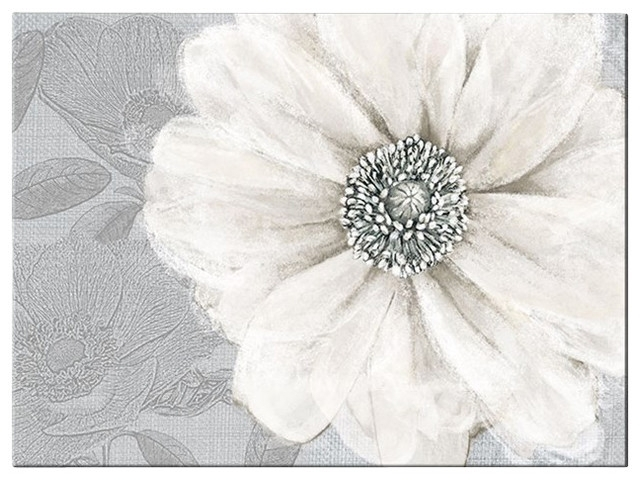 Grey Bloom Canvas Wall Art – Contemporary – Artwork  Graham & Brown With Grey And White Wall Art (Photo 3 of 10)