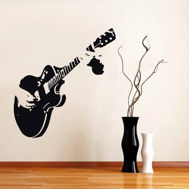 Guitar Guitarist Music Wall Stickers Decor Mural Art Decals Home Intended For Music Wall Art (Image 4 of 10)