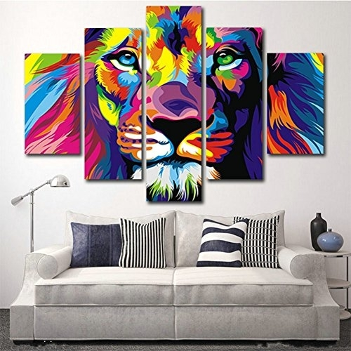 H.cozy 5 Piece Free Shipping Original Animal Oil Painting Pictures With Regard To Five Piece Canvas Wall Art (Photo 6 of 10)