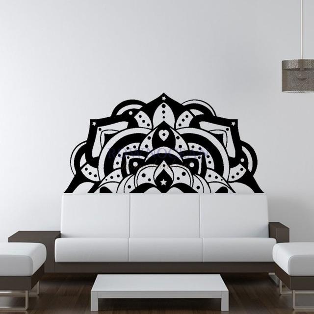 Half Mandala Wall Decals Sticker Fashion Bedroom Decor Boho Bohemian With Regard To Mandala Wall Art (Image 1 of 10)
