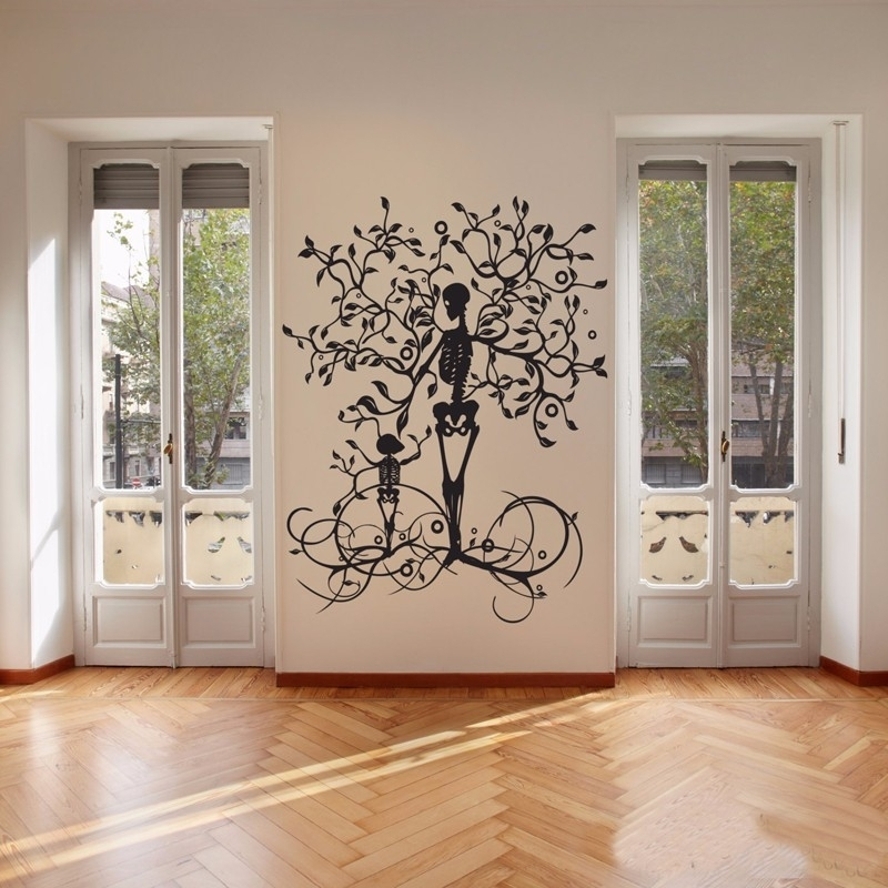 Halloween Decoration Skeleton Tree Wall Decal, Vinyl Tree Of Life With Regard To Tree Of Life Wall Art (Image 2 of 10)