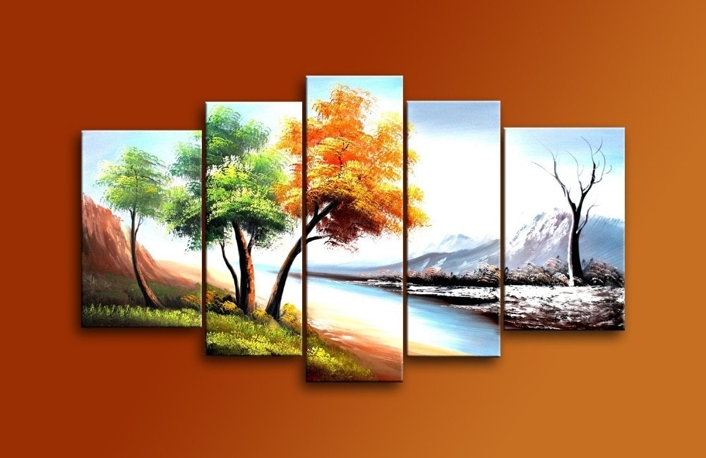 Hand Painted 5 Piece Modern Landscape Oil Paintings On Canvas Wall In Wall Art Paintings (Photo 6 of 10)