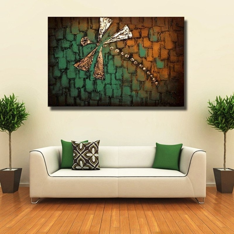 Hand Painted Acrylic Abstract Dragonfly Paintings Modern Home Decor Intended For Dragonfly Painting Wall Art (Image 7 of 10)