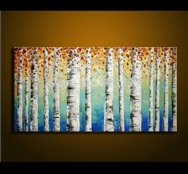 Hand Painted Birch Tree Wall Art Bedroom Living Room Decor Abstract Inside Birch Tree Wall Art (Image 7 of 10)