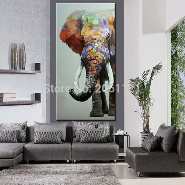 Hand Painted Large Big Elephant Wall Art Abstract Textured Vertical Intended For Elephant Wall Art (Image 7 of 10)