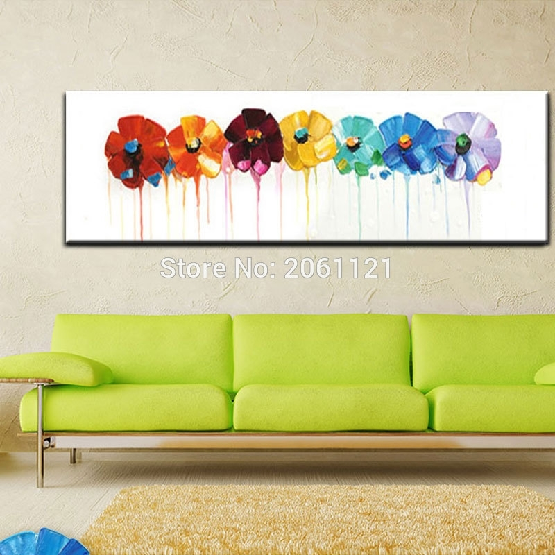 Hand Painted Large Long Wall Oil Paintings Modern Abstract Floral In Floral Wall Art (Image 4 of 10)