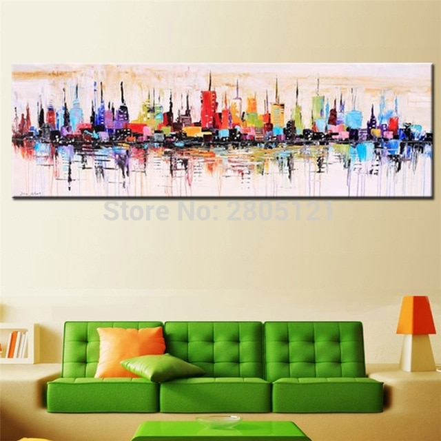 Hand Painted Modern Fashion Decorative Oil Painting Large Long Regarding Long Canvas Wall Art (View 9 of 10)