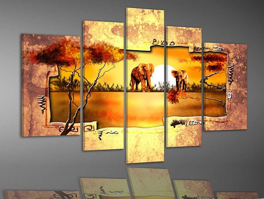 Hand Painted Multi Panel Canvas Wall Art Warm Elephant Forest Home Pertaining To Multi Panel Wall Art (Image 4 of 10)