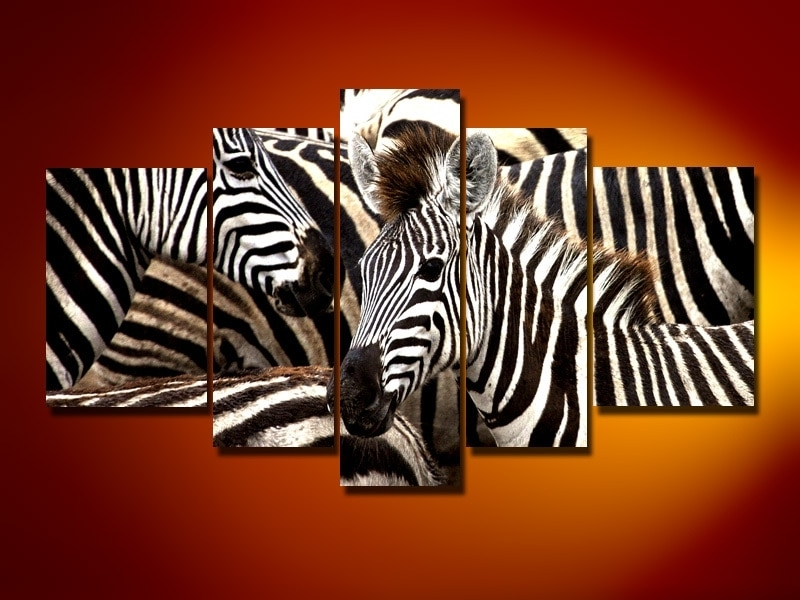 Hand Painted Oil Wall Art African Zebra Running Decoration Landscape Intended For Zebra Canvas Wall Art (View 1 of 10)