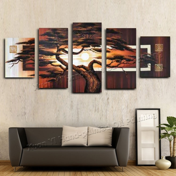 Hand Painted Wall Art Tree Sunshine Red Sun Mountain African Art Throughout African Wall Art (Photo 7 of 10)