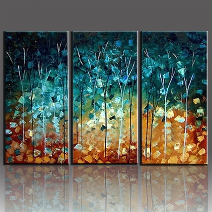 Handmade Painting Trees Large Frameless Paintings Oil Picture 3 Intended For 3 Piece Canvas Wall Art (Photo 3 of 10)