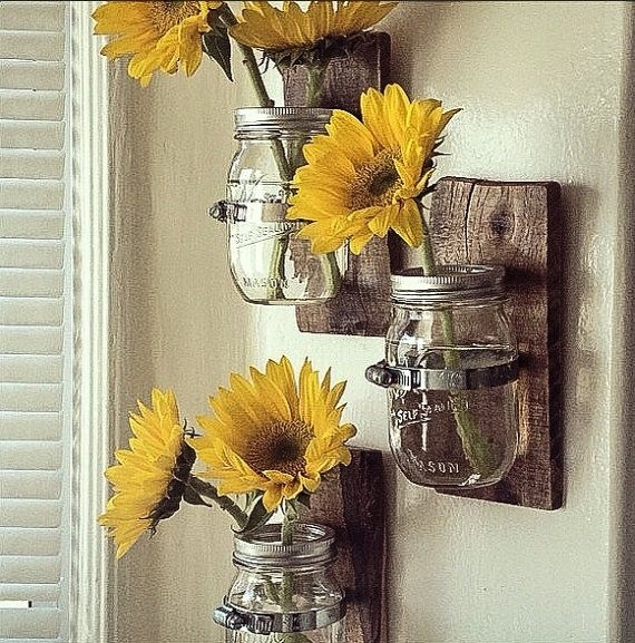 Hanging Wall Vase: Cottage Chic Mason Jar Hanging Wallpalletso Throughout Sunflower Wall Art (Image 4 of 10)