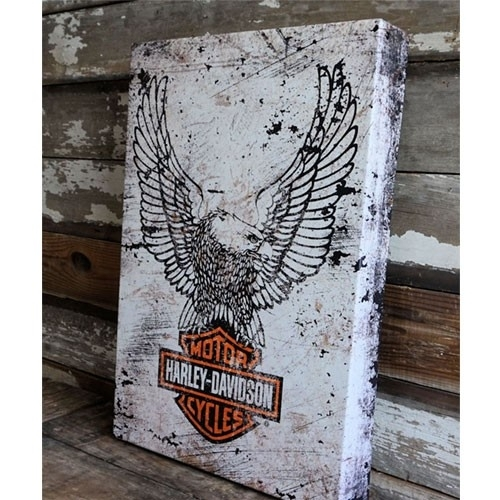 Harley Davidson Eagle Logo On Metal Box Art | A Simpler Time Throughout Harley Davidson Wall Art (Image 7 of 10)