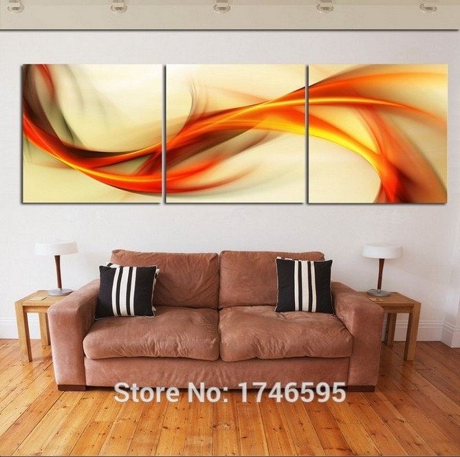 Hd Print 3 Pieces Canvas Abstract Orange Wall Art Picture Print In Orange Wall Art (Photo 6 of 10)