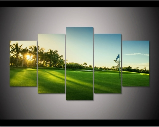 Hd Print 5 Pcs Sun Golf Course Canvas Wall Art Painting Modern Home Intended For Golf Canvas Wall Art (Image 8 of 10)