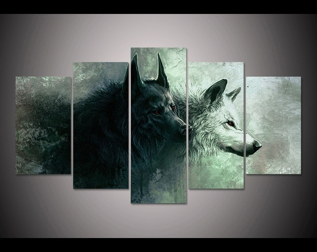 Hd Print 5 Pieces Canvas Wall Art Print Wolf Painting Canvas Modern For 5 Piece Canvas Wall Art (View 2 of 10)
