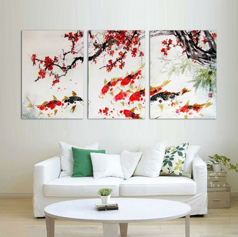 Hd Print Cherry Blossom Koi Fish Painting Canvas Wall Art Prictue With Regard To Fish Painting Wall Art (Image 8 of 10)