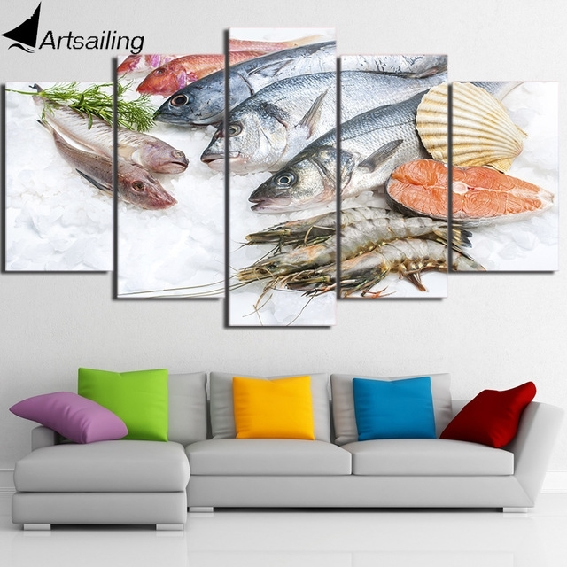 Hd Printed 5 Piece Canvas Art Fresh Seafood Modern Large Canvas Wall Throughout Modern Large Canvas Wall Art (Photo 4 of 10)