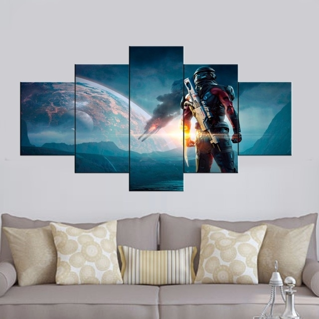 Hd Printed 5 Piece Canvas Art Mass Effect Andromeda Game Picture With Regard To 5 Piece Wall Art (Photo 3 of 10)