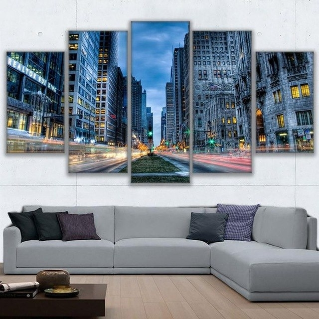 Hd Printed Posters Wall Art Frame Canvas Pictures 5 Pieces Chicago Pertaining To Chicago Wall Art (Image 7 of 10)