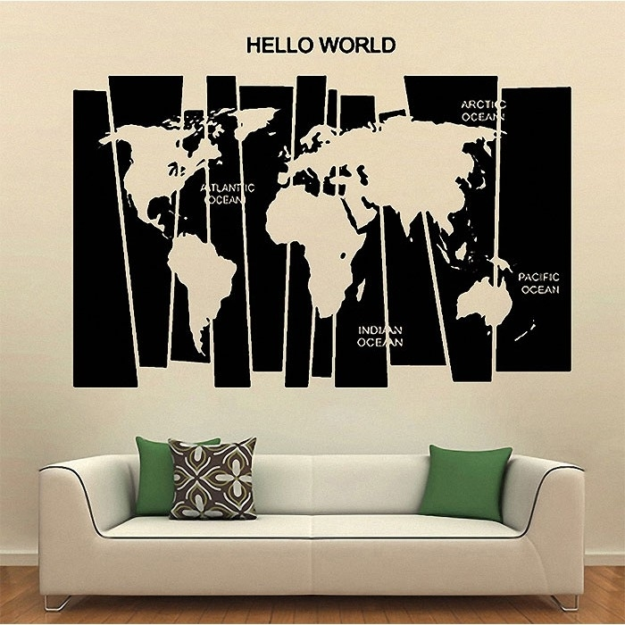 Hello World Map Vinyl Wall Art Decal Within Vinyl Wall Art World Map (View 6 of 10)