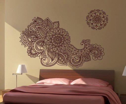 Henna Stencil Decal Oriental Wall Decor · Moonwallstickers With Regard To Henna Wall Art (Image 8 of 10)