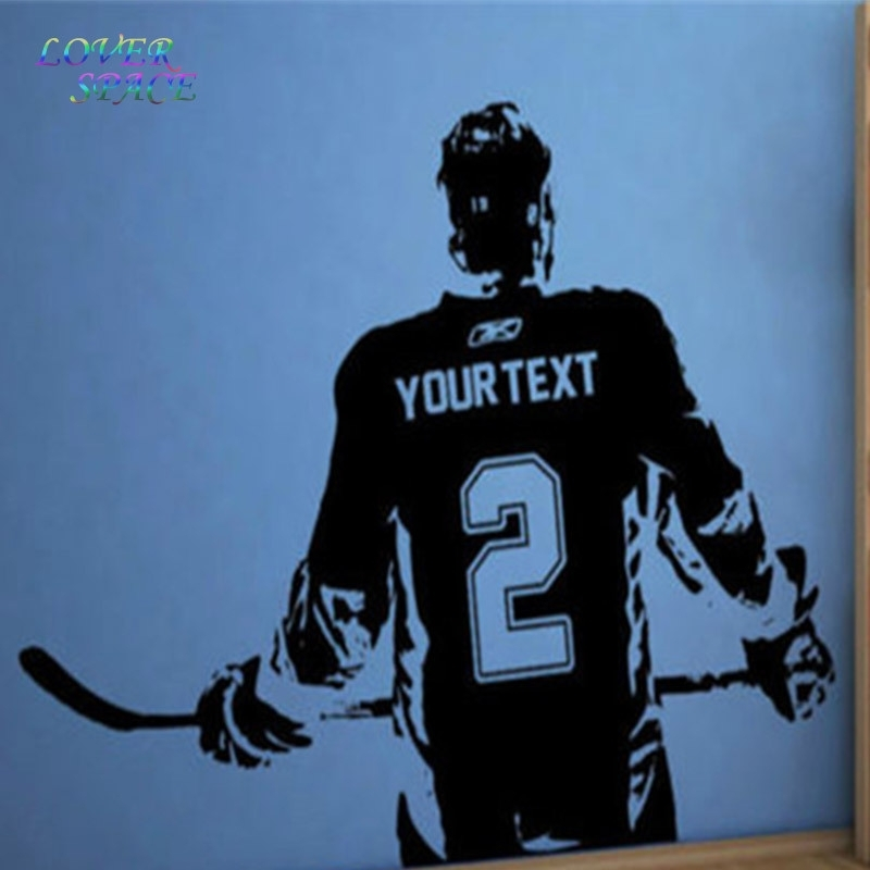 Hockey Player Wall Art Decal Sticker Choose Name Number Personalized Pertaining To Hockey Wall Art (Image 2 of 10)